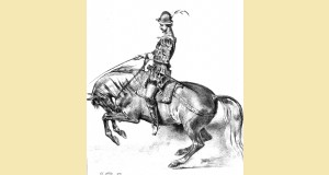 Représentation de Grisone dans L'Histoire pittoresque de l'équitation, Aubry (éd. 1834).