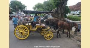 Cheval avec voiture dans une rue à Yogyakarta